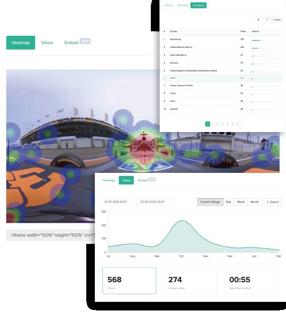 Headjack video analytics XR dashboard