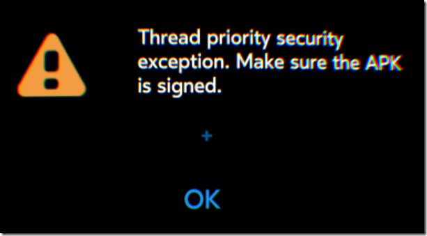 Gear VR Thread priority security exception. Make sure APK is signed