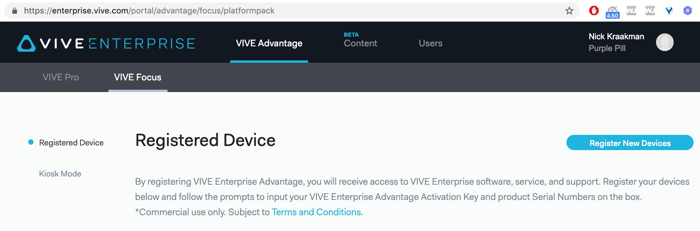 Vive Focus Kiosk Mode - Register New Device | Headjack