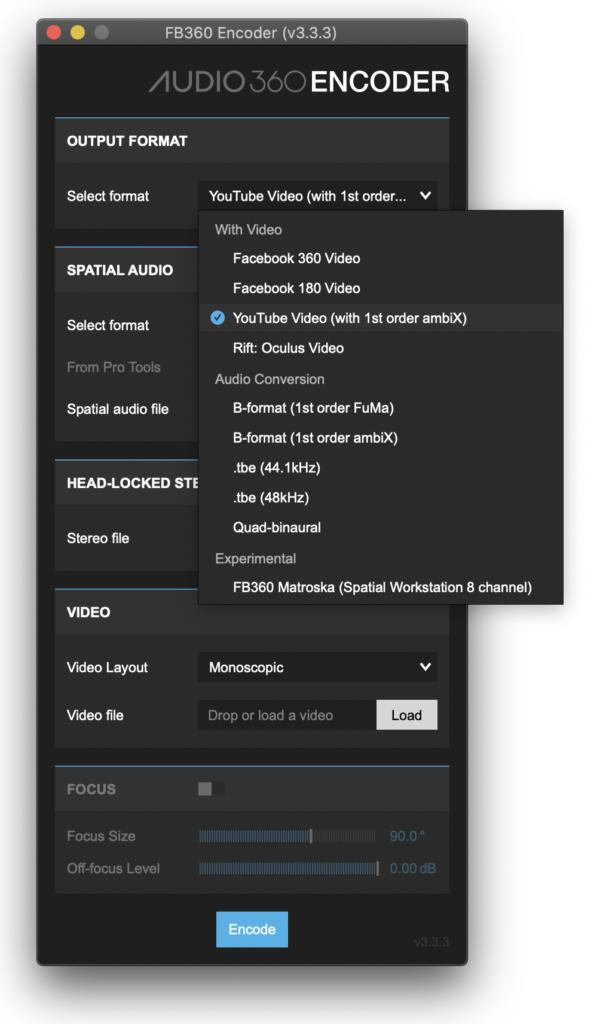 Facebook Spatial Audio Workstation plugin AmbiX